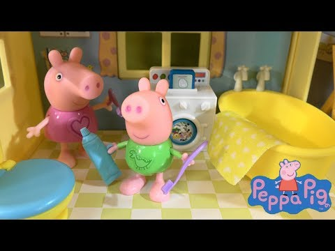 Peppa Pig Story: Morning Routine with Peppa Pig House and Peppa Pig Friends and Family Toys