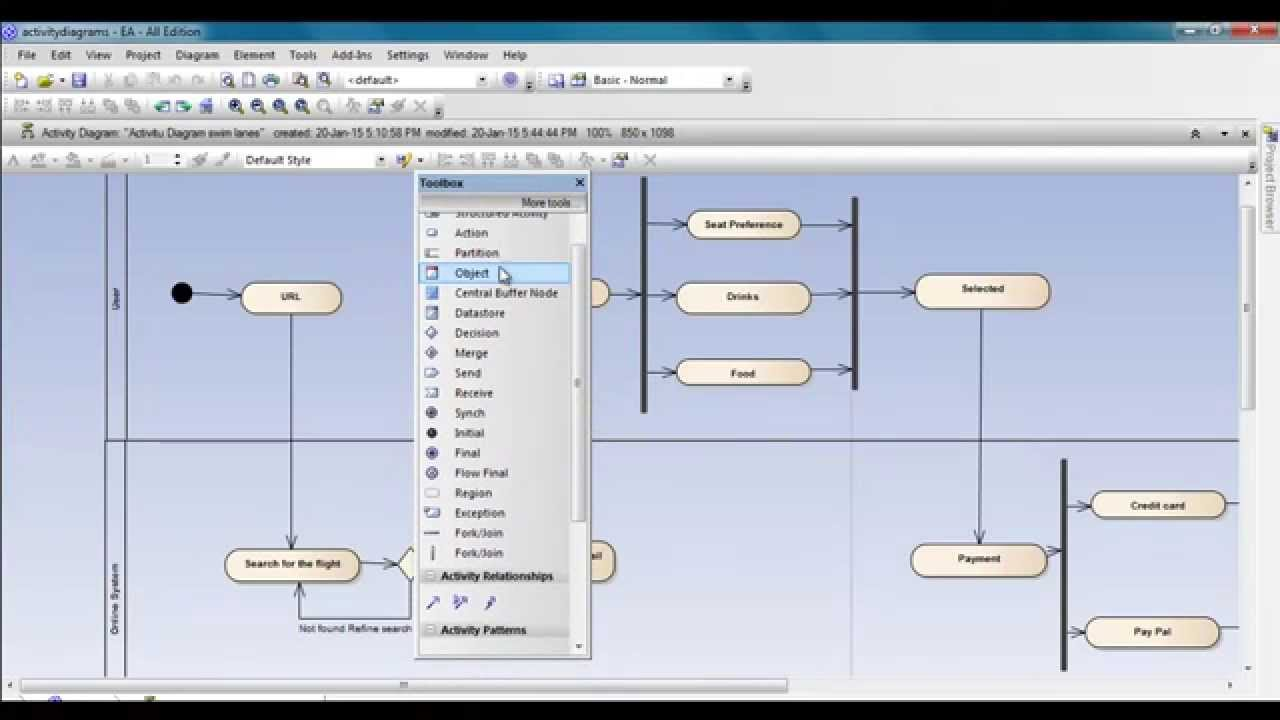 activity diagram using enterprise architect   swim lanes   youtubeactivity diagram using enterprise architect   swim lanes