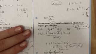 345 AYT Matematik TÜREV-2 Test-4 Anlatımlı Çözümleri (2018-2019 basım