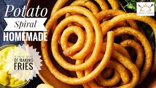 Crispy Potato Spiral  New Way of Making Fries  Tornado Potato Recipe  Asian Cooking