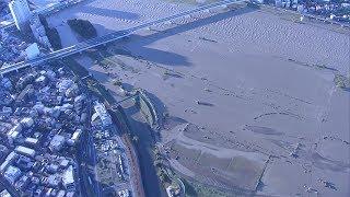 台風19号 消えた河川敷…空から見た東京