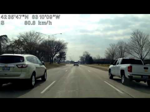 Driving from Rochester Hills, Michigan to Detroit, Michigan