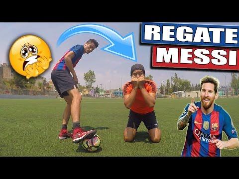 JUEGA COMO MESSI / Como hacer un REGATE al estilo MESSI - Jugadas, caños, fintas de futbol