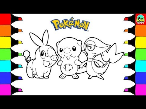 coloring pages pokemon unova starter tepig oshawott snivy colouring book fun