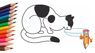 как нарисовать кошку рисуем кошку how to draw a cat