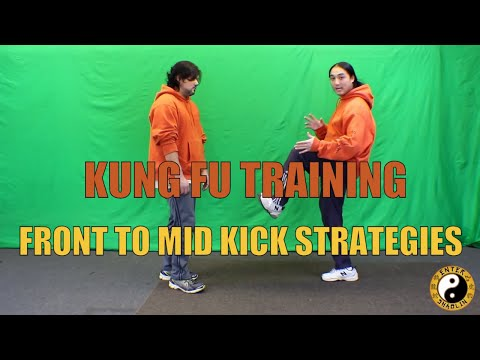 Kung Fu Training | Front Kick To The Mid section Defensive And Offensive Strategies