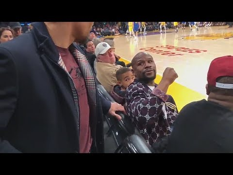 Floyd Mayweather Finally Throws A Jab At Manny Pacquiao During Greeting At Warriors vs Lakers Game