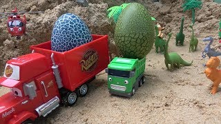 Disney Pixar Cars Mack Truck & Helicopter Tayo toy stealing Dinosaur eggs toys play