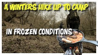 A Winter's Hike Uṗ To Camp In Frozen Conditions & Full English Breakfast On A Hinged Fire Box Stove!