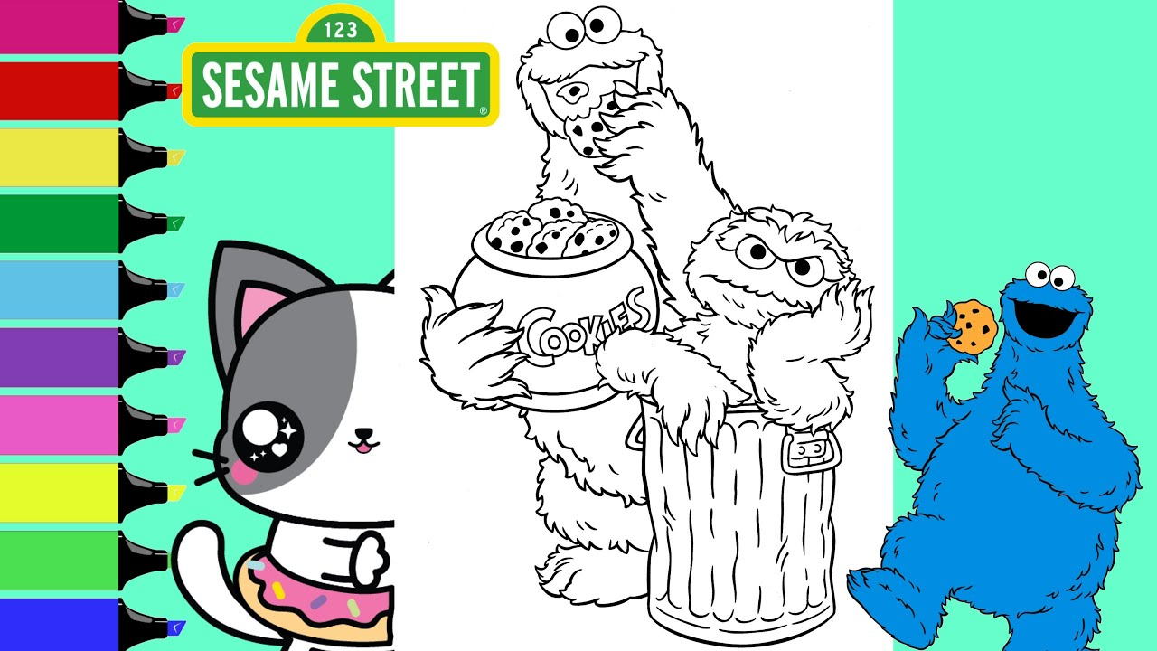 Coloring Sesame Street Cookie Monster And Oscar The Grouch Coloring Book Sprinkled Donuts Jr Youtube