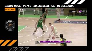 Brady Rose 2020/21 Highlights |BC Beroe - D1 Bulgaria