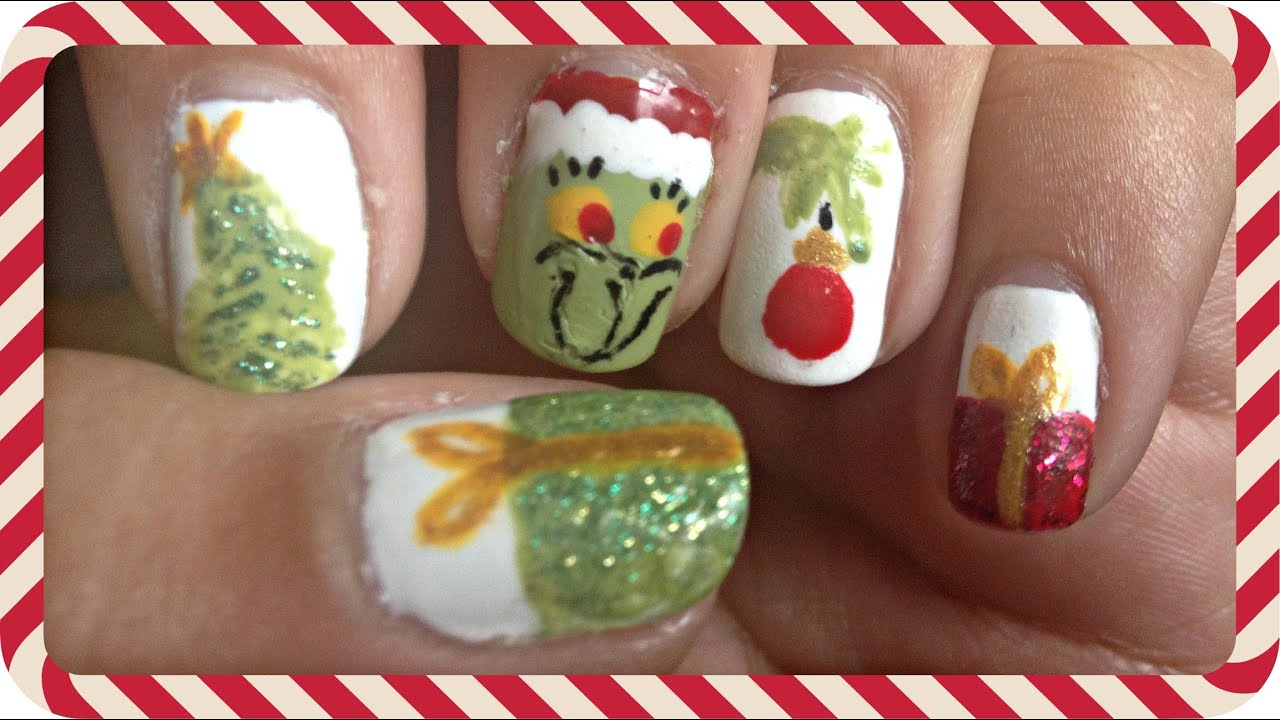 How The Grinch Stole Christmas Nail Art Youtube