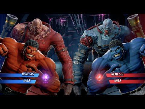 Red Hulk And Nemesis Vs Blue Hulk And Blue Nemesis - MARVEL VS. CAPCOM: INFINITE