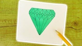 DIY DIAMANT ZEICHNEN   Wie malt man einen EDELSTEIN KRISTALL? Zeichnen lernen für Kinder + Anfänger
