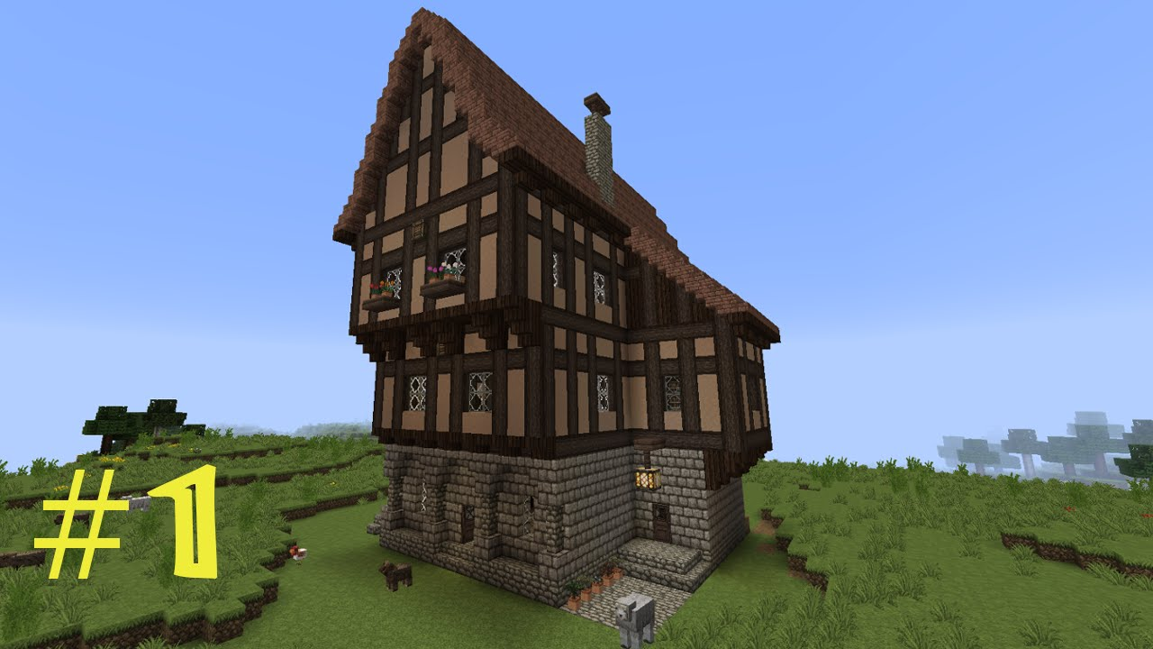Minecraft tutorial fachwerkhaus wohnhaus 1 youtube for Bauplan wohnhaus