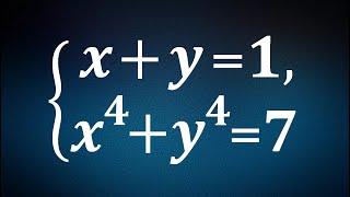 Быстрое решение сложной системы ★ x+y=1; x^4+y^4=7 ★ Как решать симметрические системы уравнений?