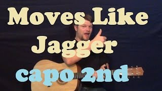 Moves Like Jagger (Maroon 5) Guitar Lesson Easy Capo 2nd Strum Chord How to Play Tutorial