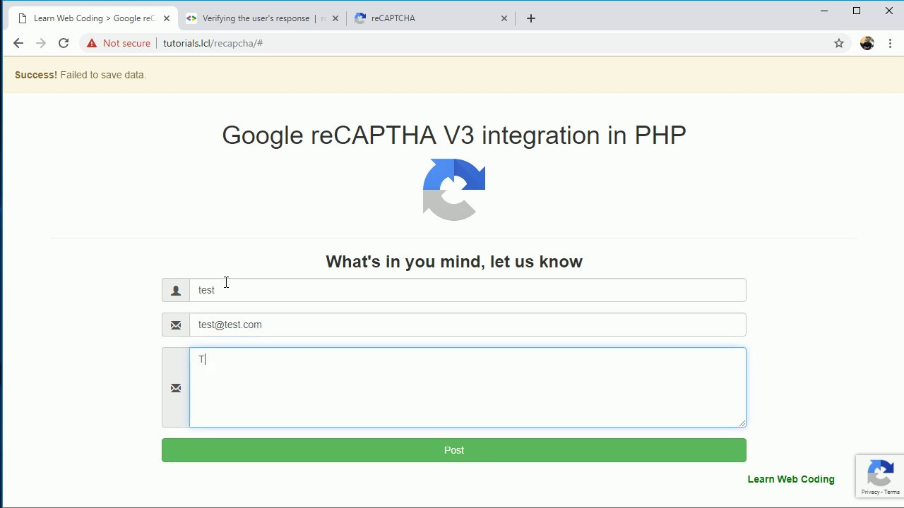 Google reCAPTCHA V3 integration in PHP