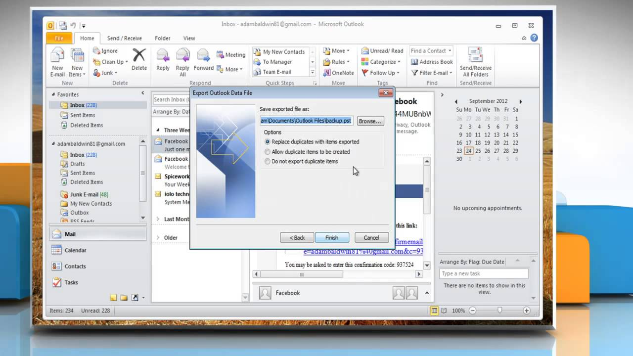 How to Export and import PST files in Windows® 7 Outlook 2010:
