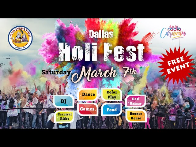 Dallas Holi Fest 2020 !! FREE!! Mar 7th, 2020