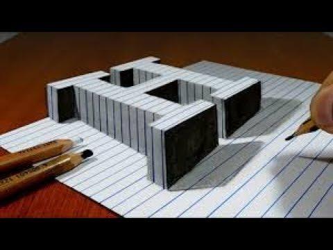 Vẽ chữ H 3D| Draw a Letter H on Line Paper 3D Trick Art