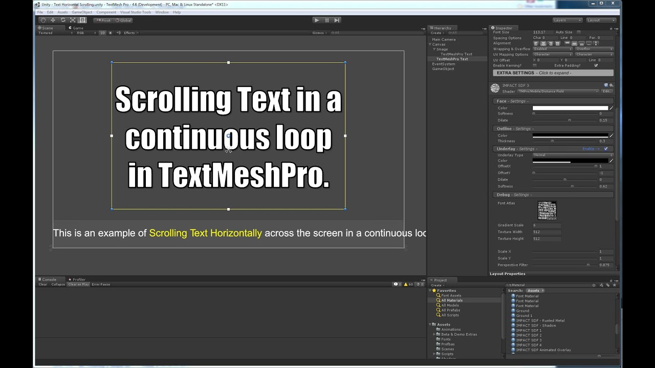 TextMesh Pro - Scrolling Text in a Continuous Loop