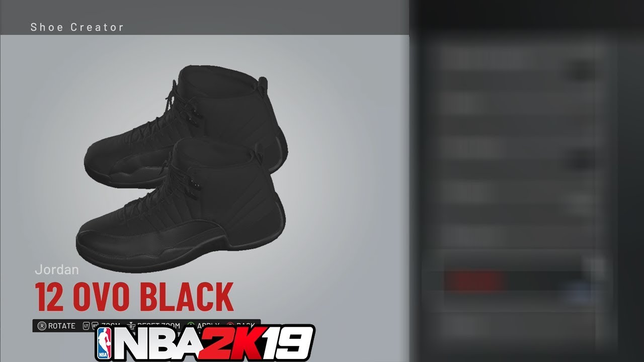 b245fb67516d NBA 2K19 Shoe Creator Jordan 12 OVO (Black)   NBA2K19  - YouTube