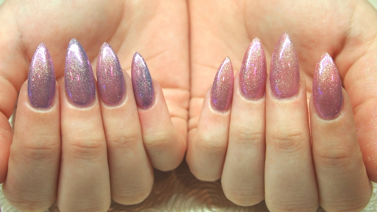 Stiletto Acrylic Nail Refill With Colour Change Polish A Twist