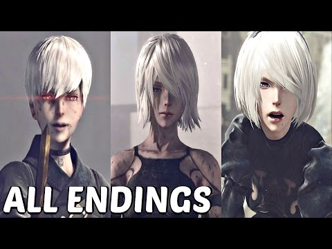 Nier Automata - All Main Endings & True Ending (A, B, C, D, E)