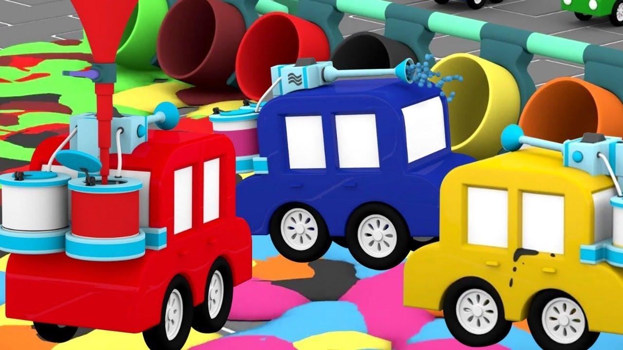 lehrreicher zeichentrickfilm die 4 kleinen autos das blaue auto steckt in schwierigkeiten. Black Bedroom Furniture Sets. Home Design Ideas