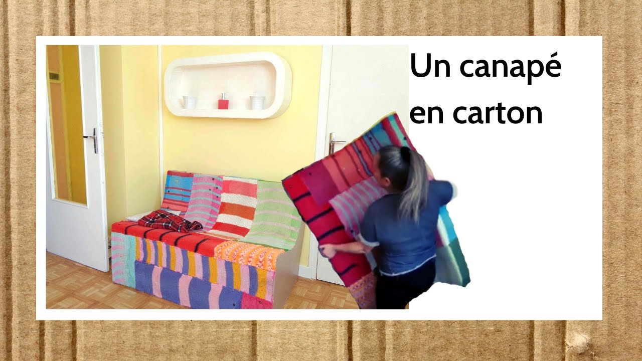 diy deco carton canape en carton avec quoi le recouvrir. Black Bedroom Furniture Sets. Home Design Ideas
