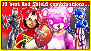 RED SHIELD On 102 Skins! | 10 BEST COMBOS W/ RED SHIELD! | Fortnite Battle Royale!