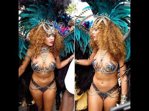 Rihanna Parties In Elaborate Peacock Wings At Barbados Festival
