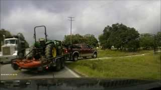 Almost accident dump truck vs truck , tractor