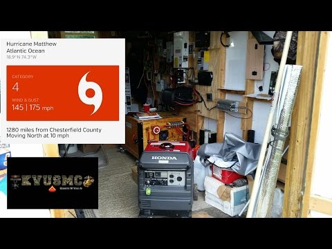 Hurricane Prepping Honda Generator EU 3000is & Solar PV Electric Backup Power By KVUSMC