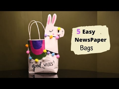 5 DIY Paper Bag Making ideas Out of  NEWSPAPER at Home by Aloha Crafts