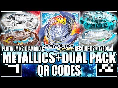 QR CODES DIAMOND J2 PLATINUM K2 & D2 RECOLOR DUAL PACK - BEYBLADE BURST APP QR CODES