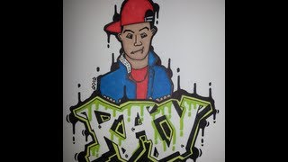 How to draw graffiti letters character step by step - Ray