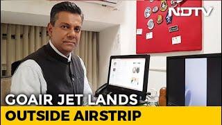 ndtv-newsroom-live-goair-plane-strays-takes-grass