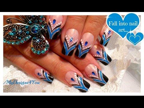 Blue French Tip Nail Art | Abstract Nail Art Design Tutorial ♥ Черно-синий Френч Маникюр