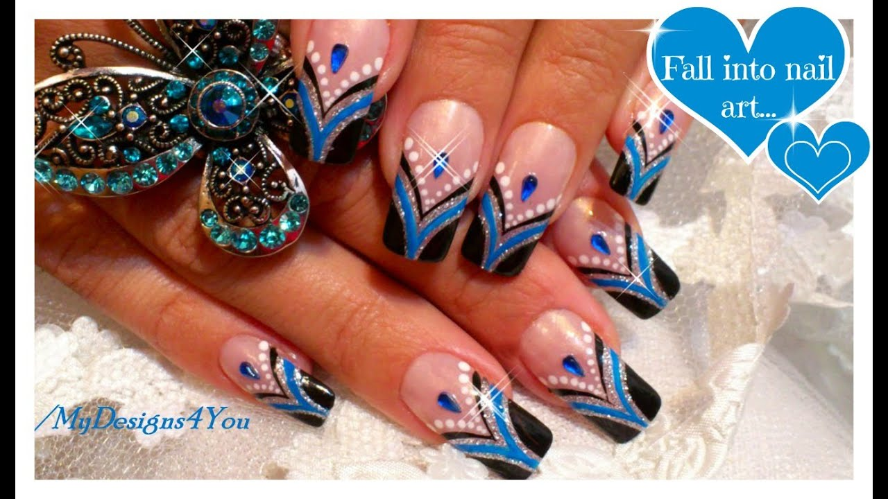Blue french tip nail art abstract nail art design tutorial blue french tip nail art abstract nail art design tutorial youtube prinsesfo Gallery