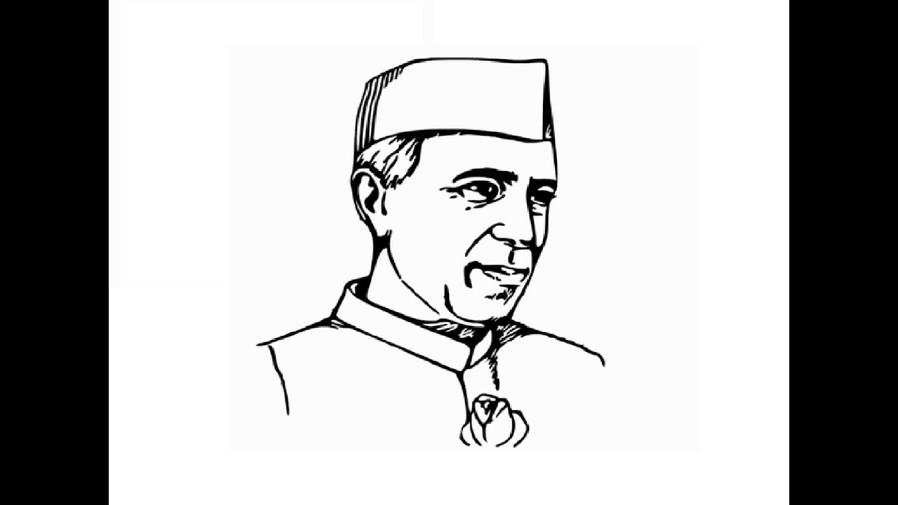 How to draw pandit jawaharlal nehru face sketch drawing step