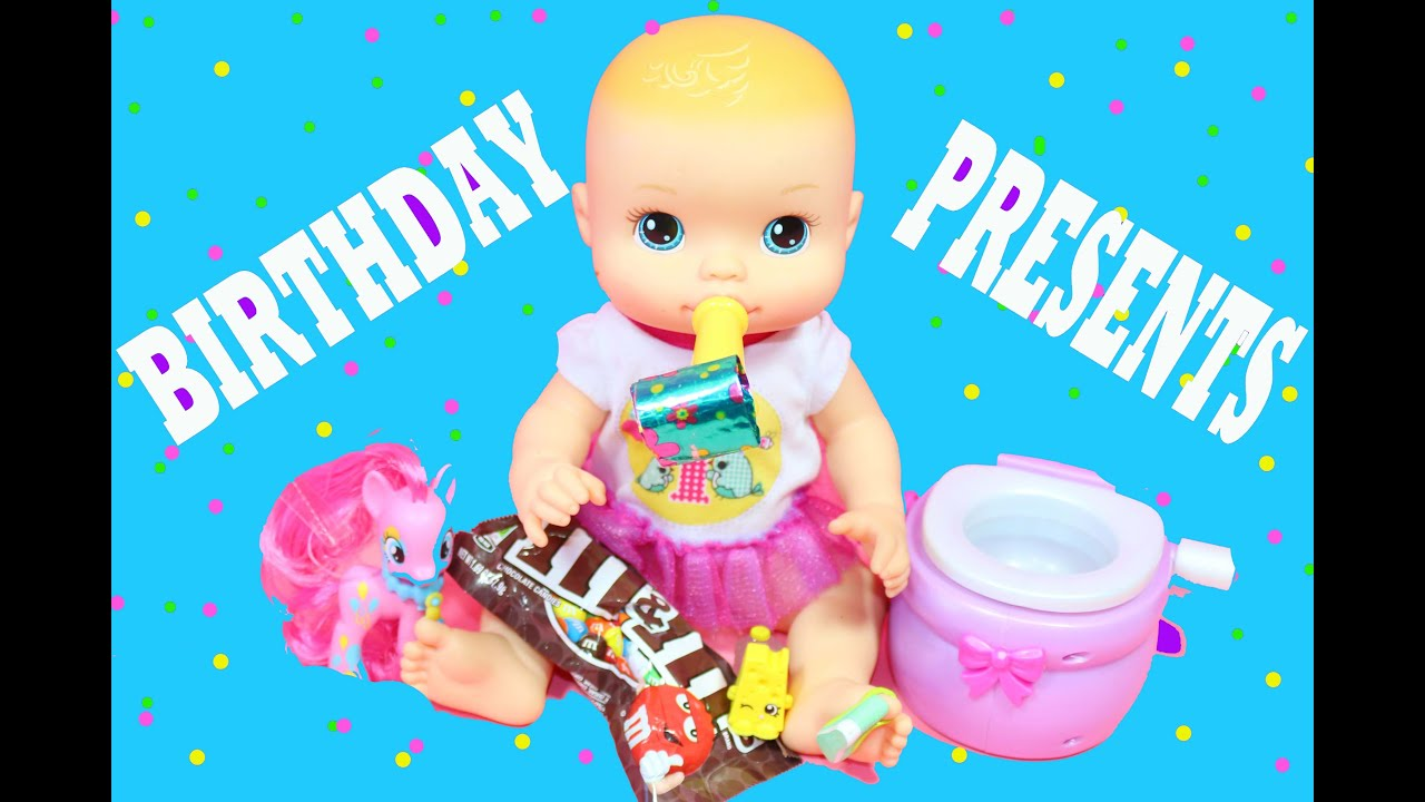 Baby Alive Doll Opens Birthday Presents Mlp Shopkins Youtube