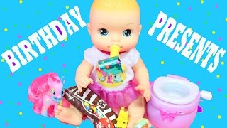 BABY ALIVE BIRTHDAY PARTY Baby Alive Doll Opens Birthday Presents Baby Potty Candy MLP Shopkins