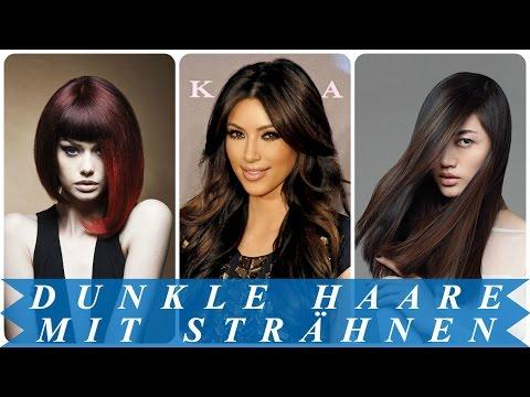 Dunkle haare mit strähnen