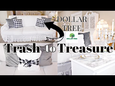 💕trash-to-treasure-thrift-store-makeovers-💕no-sew-sofa-slipcover-dollar-tree-pillows,-marble-table