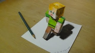 How to Draw Alex from Minecraft - Drawing 3D Alex - VamosART