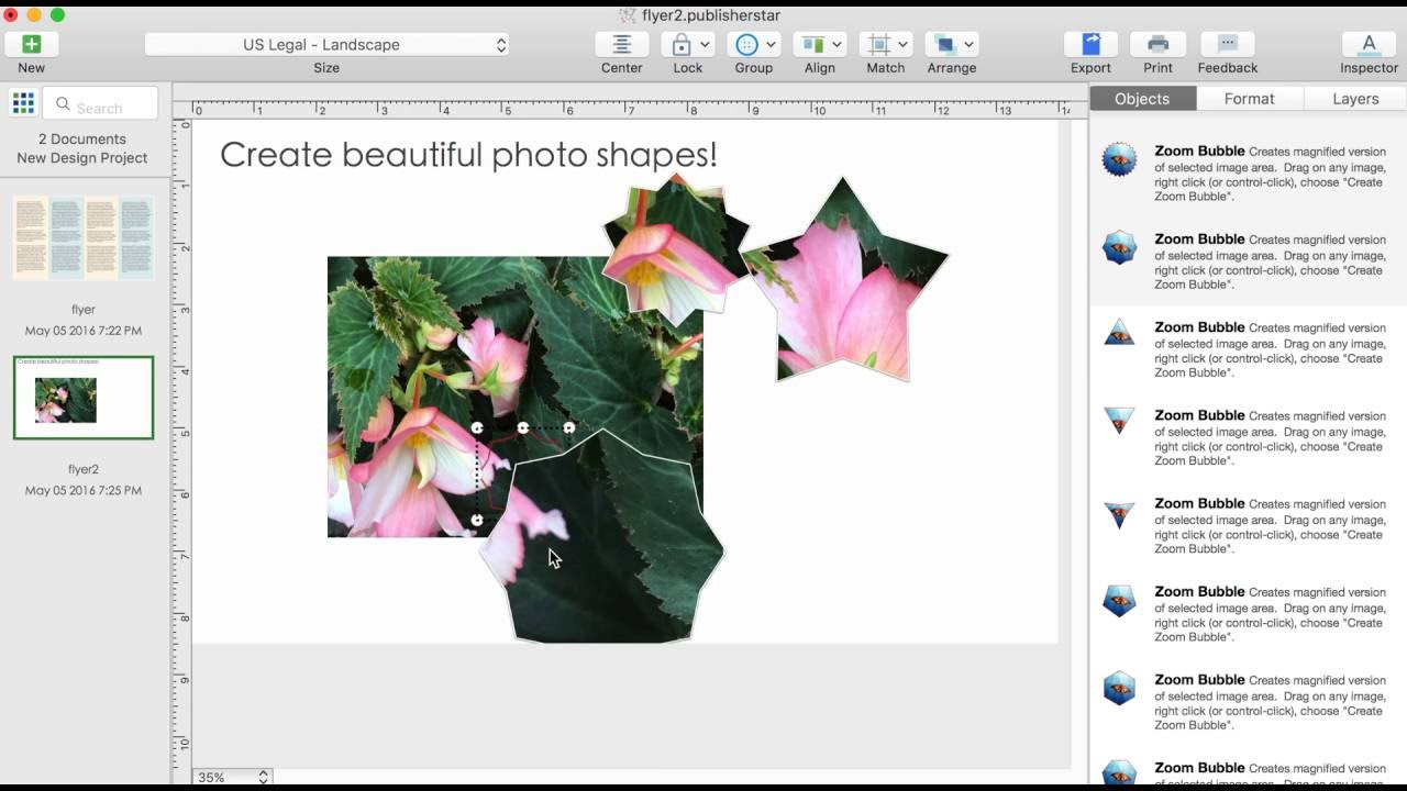 Flyer Design On A Mac: Create beautiful shapes from photos using Orion Flyer Maker Pro for Mac