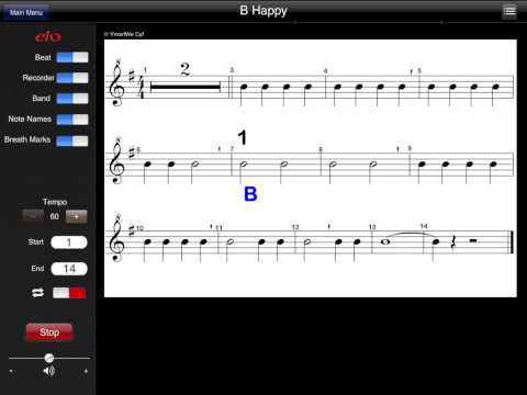 recorder song B happy (using the note B)