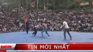 Trai làng đấu vật kịch tính ở lễ hội đền Vua Mai